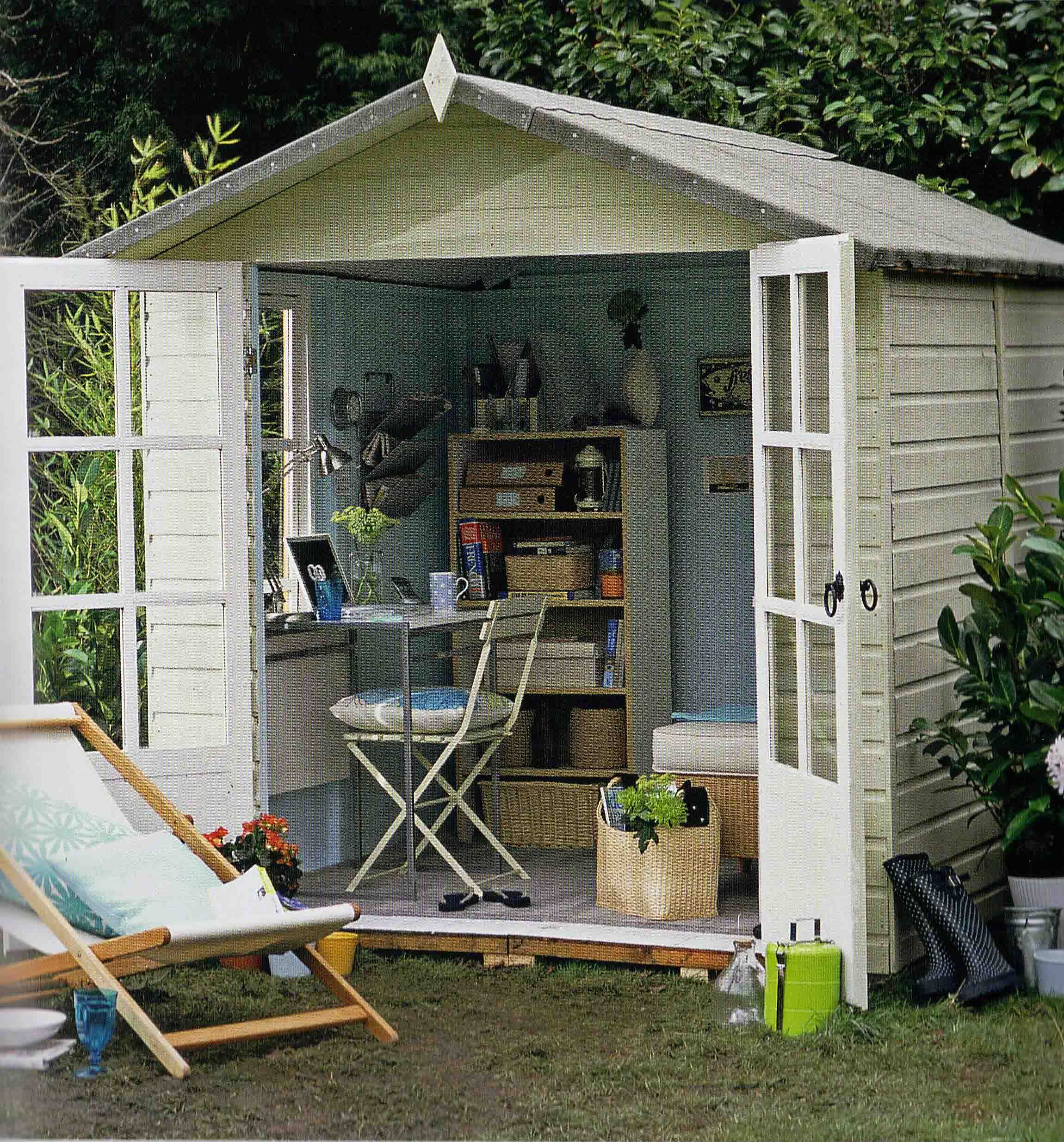 outdoor shed office. If You Want To Keep Your Work And Home Life Separate, How About An Office At The Bottom Of Garden? With Its French Windows Pretty Colour Scheme, Outdoor Shed S