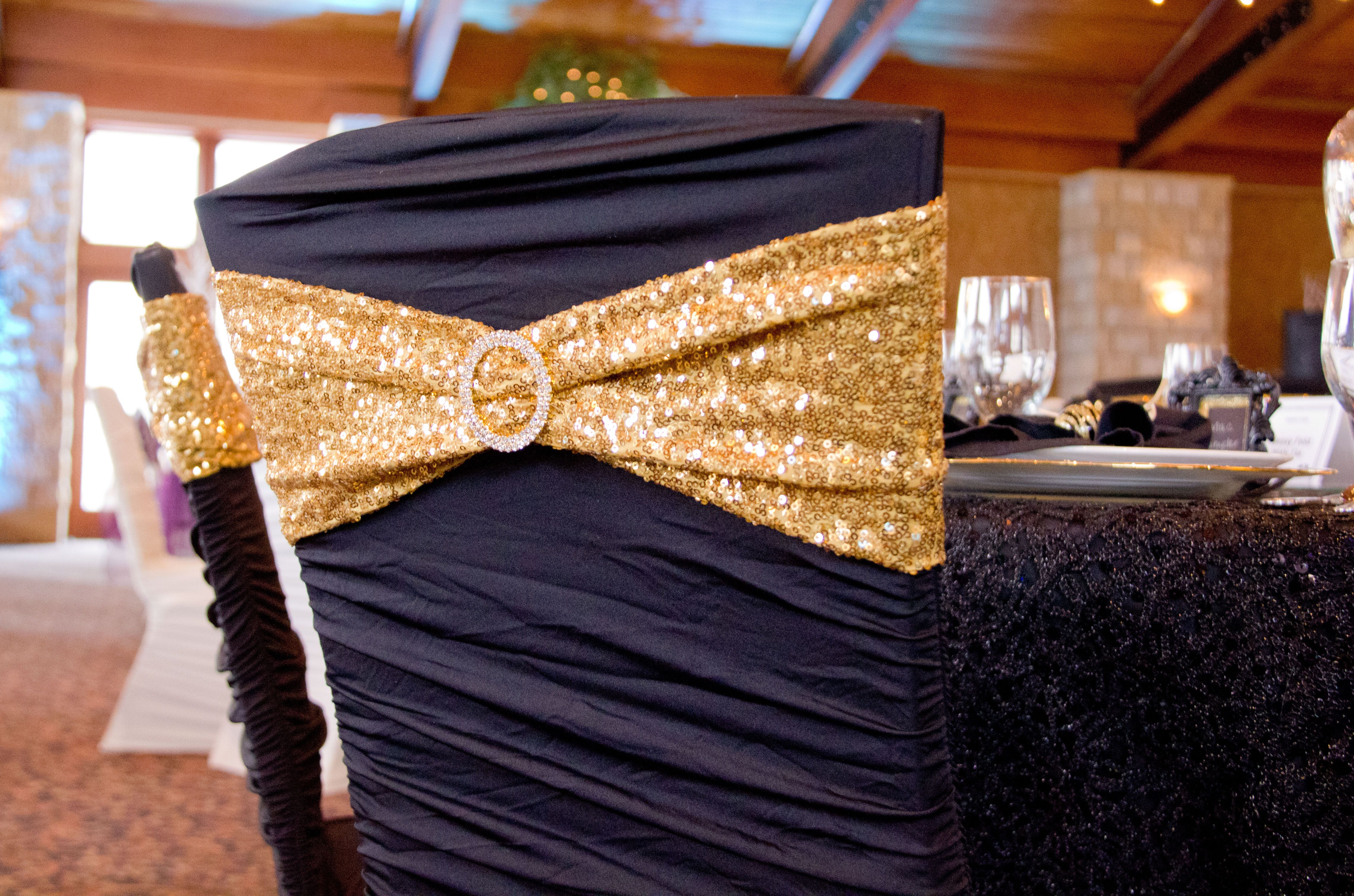 Black Ruched Chair Cover With Gold Sequin Spandex Chair