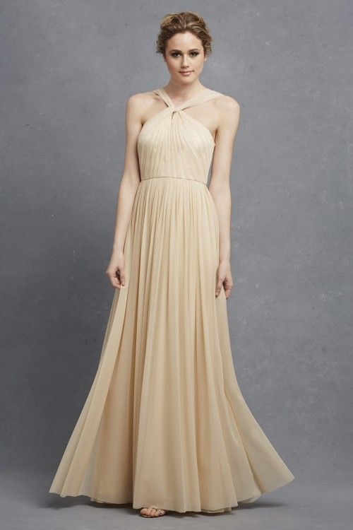 Donna Morgan Ava Dress In Almond Long Chiffon Bridesmaid Neutral