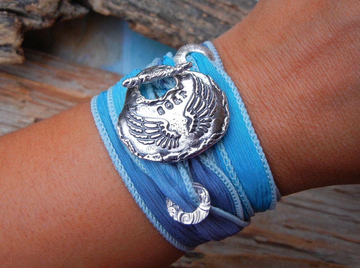 Angel Jewelry, Wings Silk Wrap Bracelet, Soar, STERLING Silver READY to SHIP Gift, Angel Wings Jewelry, Inspirational Gift for Women. $49.95, via Etsy.