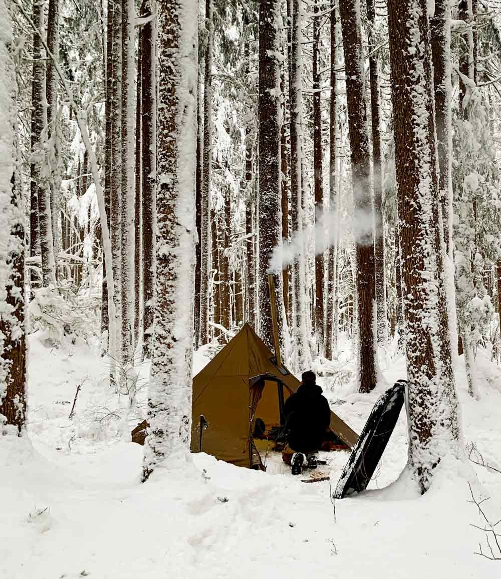 Winter Camping Ghost Forest Wood Stove Tent Video | Winter ...