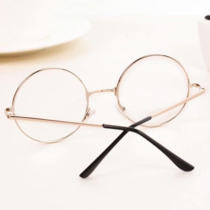 99d95ca7f9b Transparent circle round metallic frame korean clear potter glasses ...