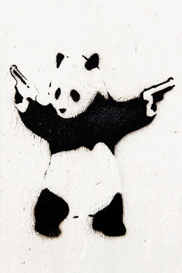 Panda With Guns Banksy Stencil Graffiti Artwork Street Art Banksy Street Art