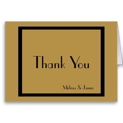 Wedding Thank You Notes, Black & Gold, Personalized with Couple's Names