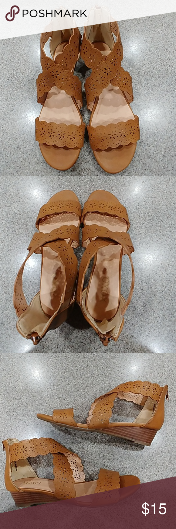 Tan Low Wedge Sandal Brand New/Never Worn with Box. XOXO Tan Low Wedge Sandals. They have a cute perforated floral detail. Size 8.5. Super cute!! XOXO Shoes Sandals #lowwedgesandals Tan Low Wedge Sandal Brand New/Never Worn with Box. XOXO Tan Low Wedge Sandals. They have a cute perforated floral detail. Size 8.5. Super cute!! XOXO Shoes Sandals #lowwedgesandals Tan Low Wedge Sandal Brand New/Never Worn with Box. XOXO Tan Low Wedge Sandals. They have a cute perforated floral detail. Size 8.5. Sup #lowwedgesandals