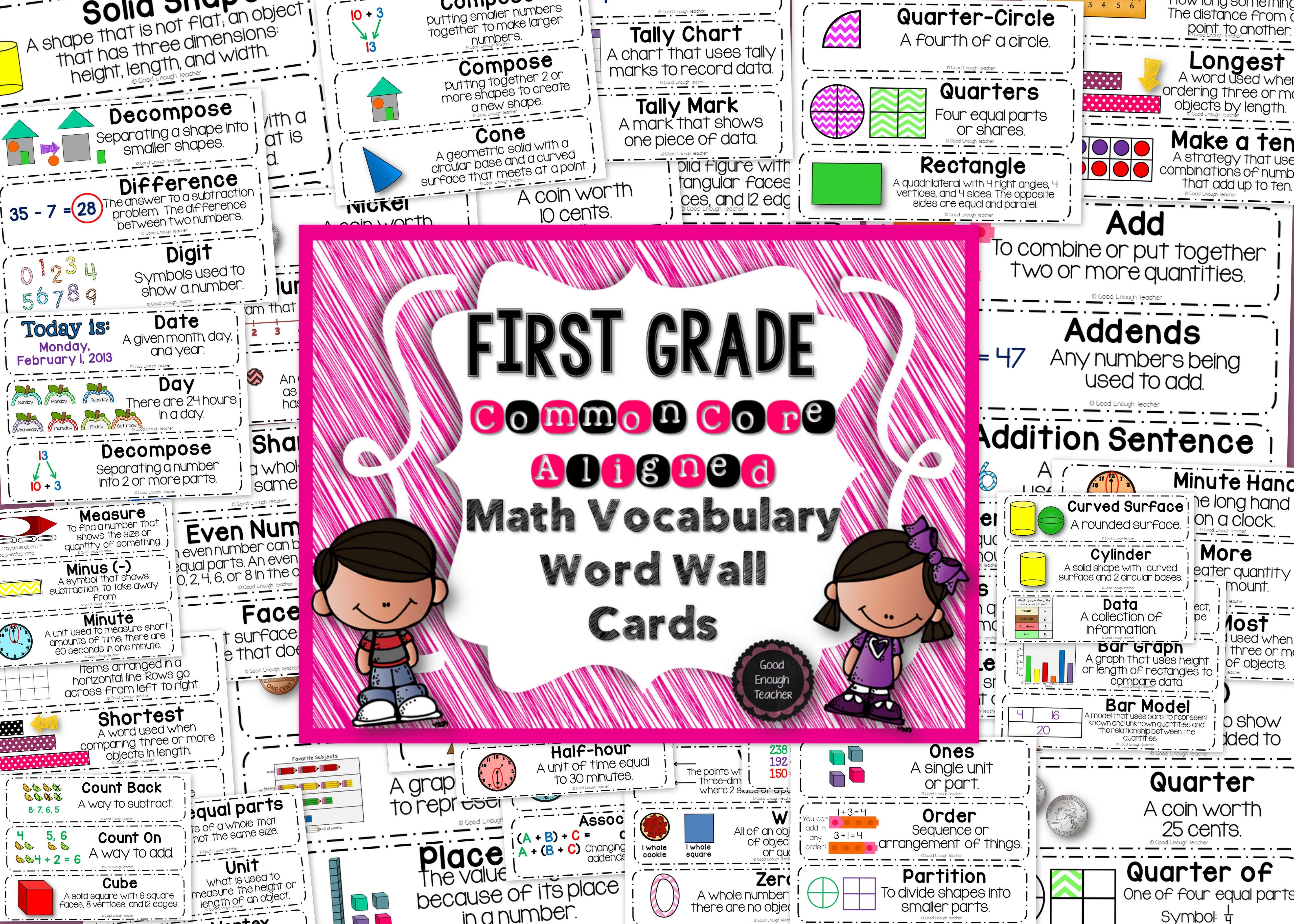 first grade ccss math vocabulary word wall cards | math vocabulary