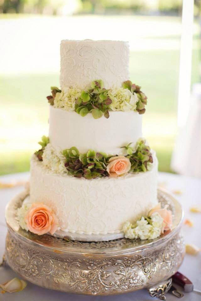 Three tier buttercream wedding cake
