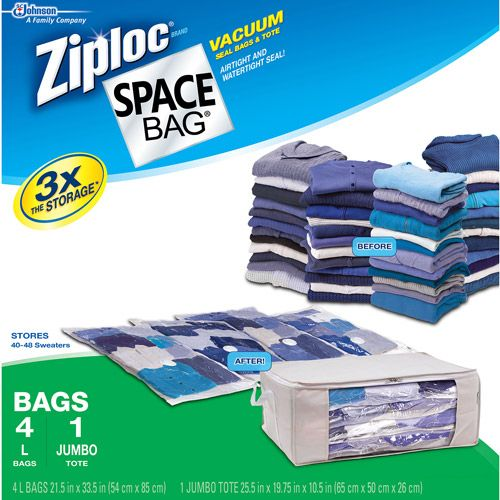 1 ct Fast Shipping Jumbo Ziploc Flexible Totes Storage Bag