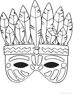 kleurplaten indianen maskers