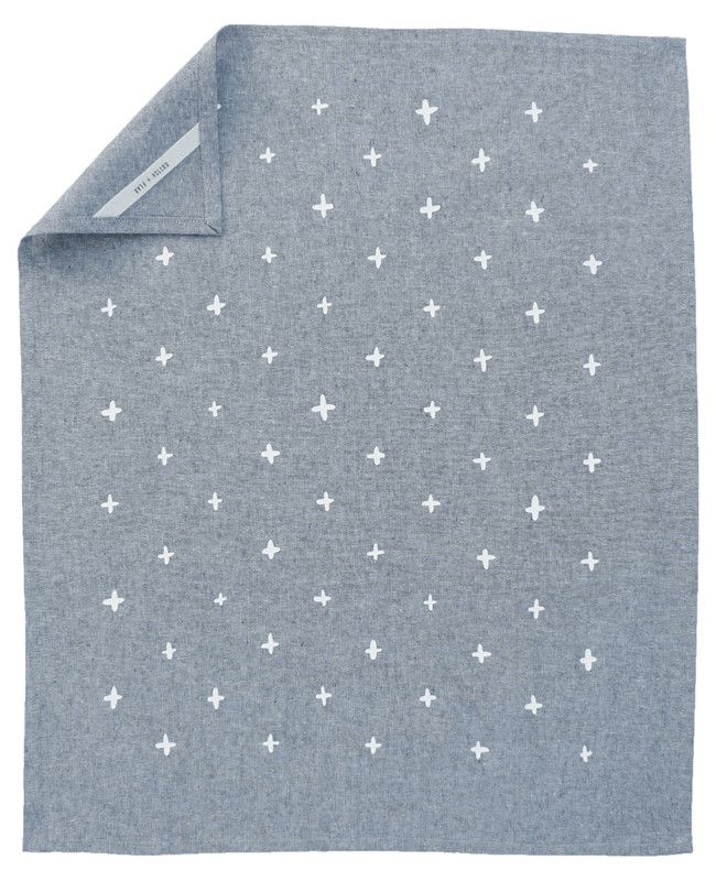 Blue chambray tea towel from Cotton & Flax