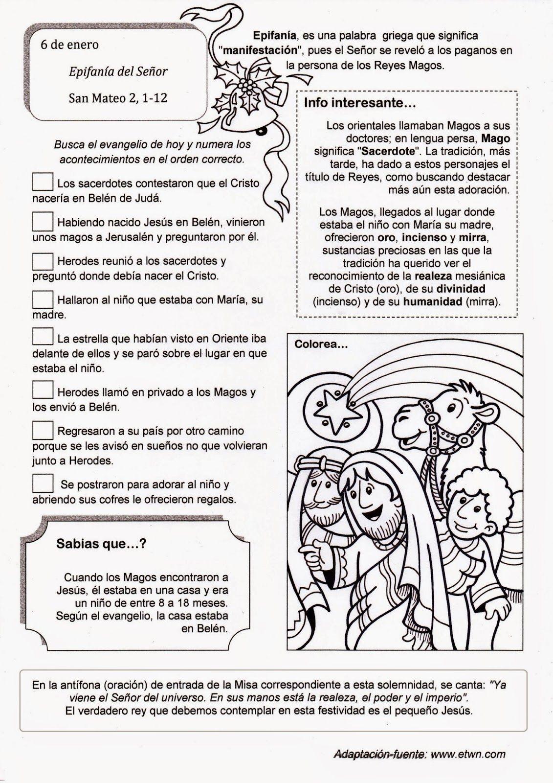 El Rincón De Las Melli Epifanía Del Señor Significado Con Juego Epifanía Del Señor Catequesis Texto Biblico Para Niños