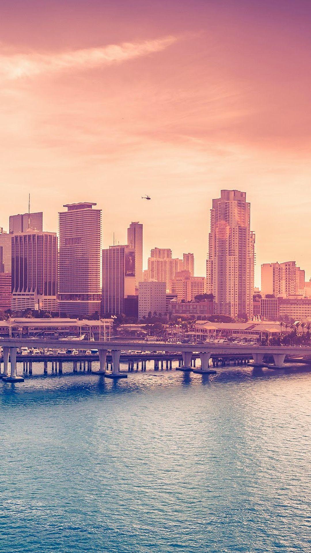 City Skyline Bridge Sunset Ios8 Iphone 6 Plus Wallpaper Sunset Wallpaper City Wallpaper Wallpaper Keren