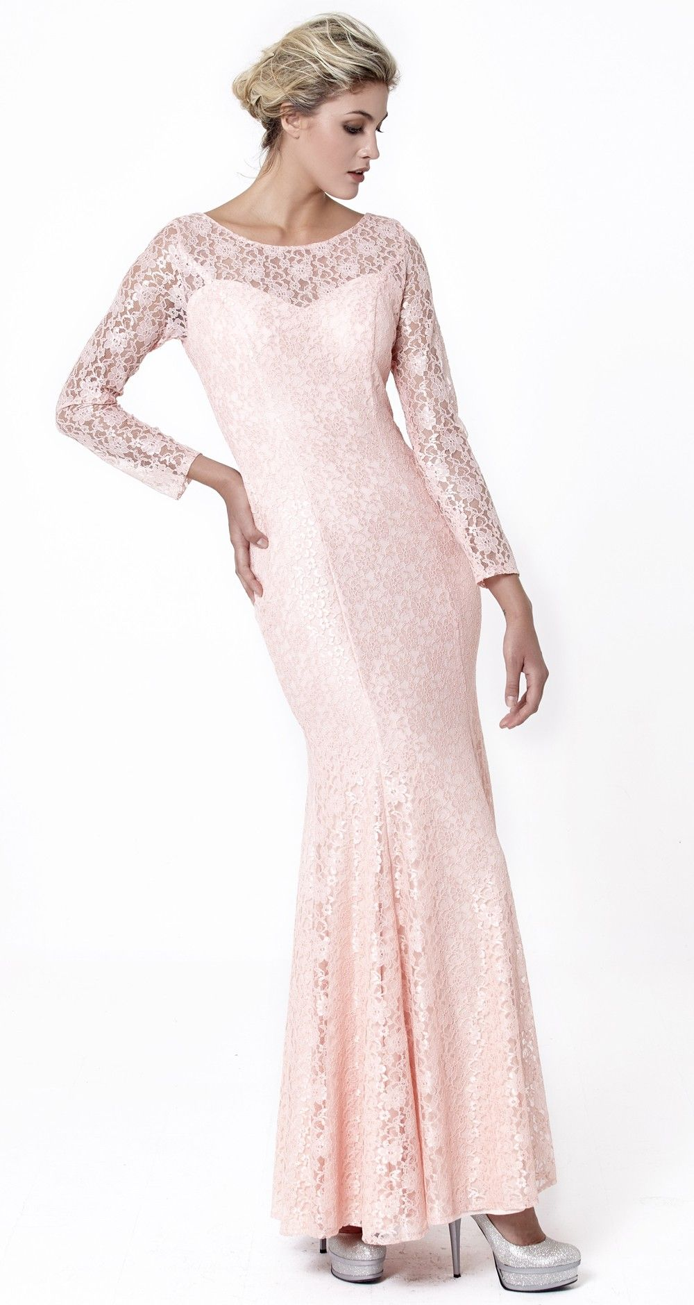 Pudra Renk Uzun Kollu Transparan Dantelli Uzun Balik Abiye Elbise Elbise Uzun Kollu Renkler