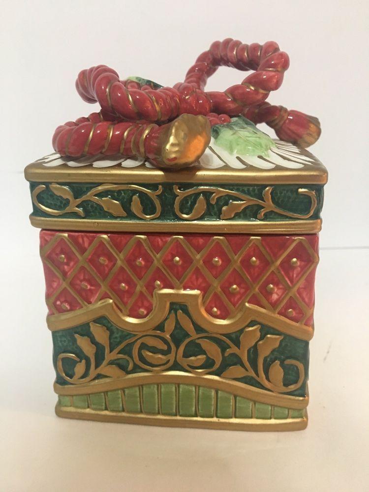 Vintage  Fitz and Floyd Christmas Trinket Box with Red Ribbon Bow Fa La La La La