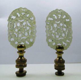 Vintage Pair Of Carved Celadon Jade Lamp Finials Item 1146007 Lamp Finial Finials Lamp