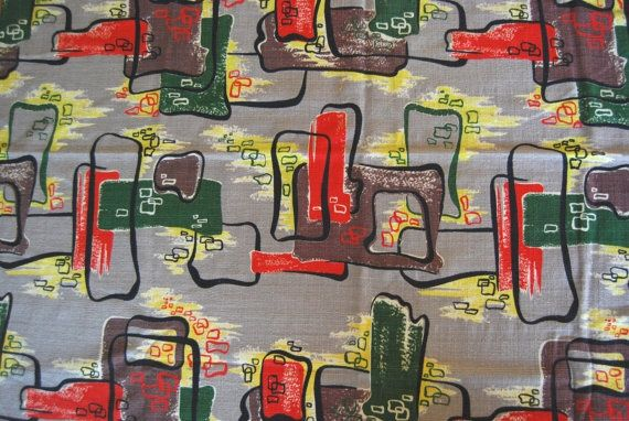 atomic barkcloth fabric | 1950s Atomic Barkcloth Fabric | stuff