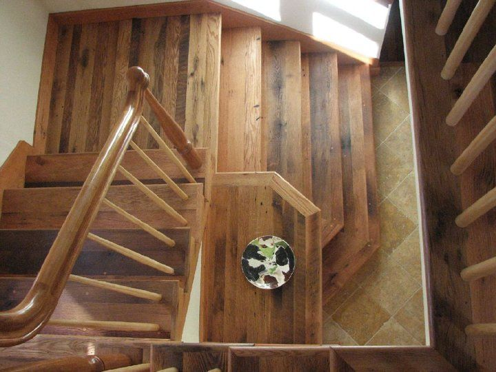 Best Stair Treads And Landing Made From Reclaimed Oak Lumber 400 x 300