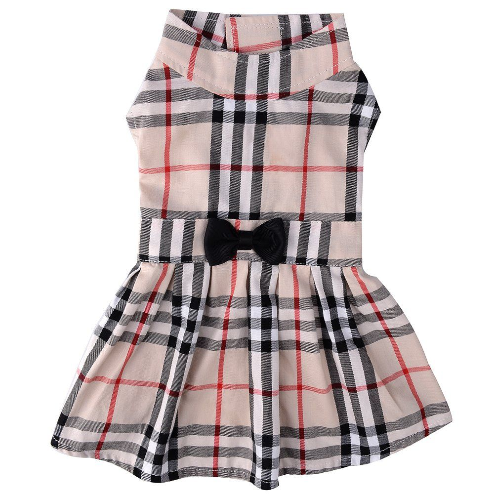 PUPTECK Classic Plaid Dog Dress Cute Puppy Clothes Outfit