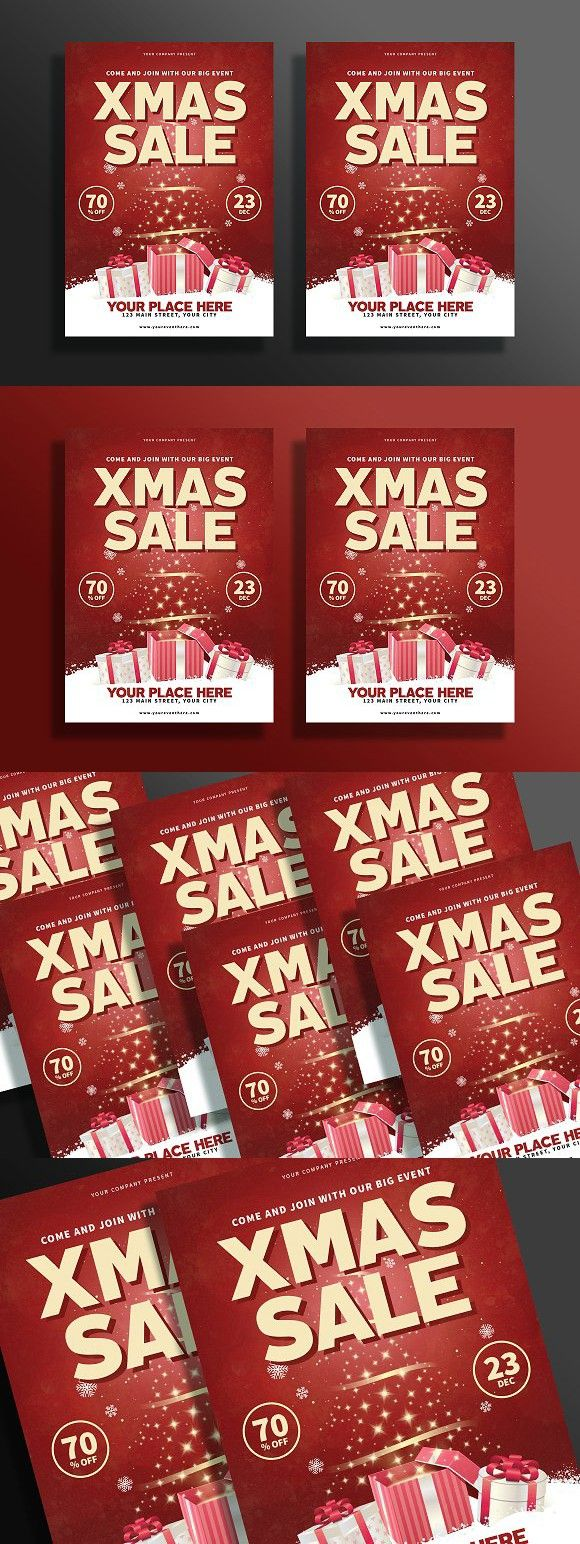 Modern Christmas Sale Flyer. Flyer Templates. $7.00