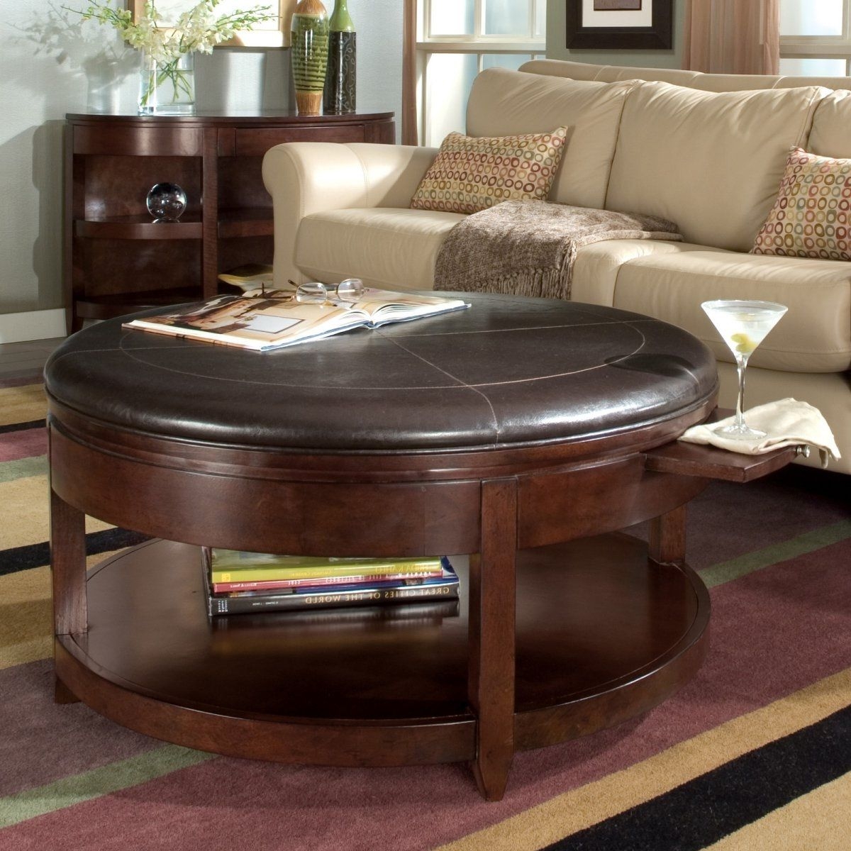 Round leather ottoman with storage zab living dream home round leather ottoman coffee table with storage zab living round leather ottoman coffee table with storage zab living round leather ottoman coffee table geotapseo Images