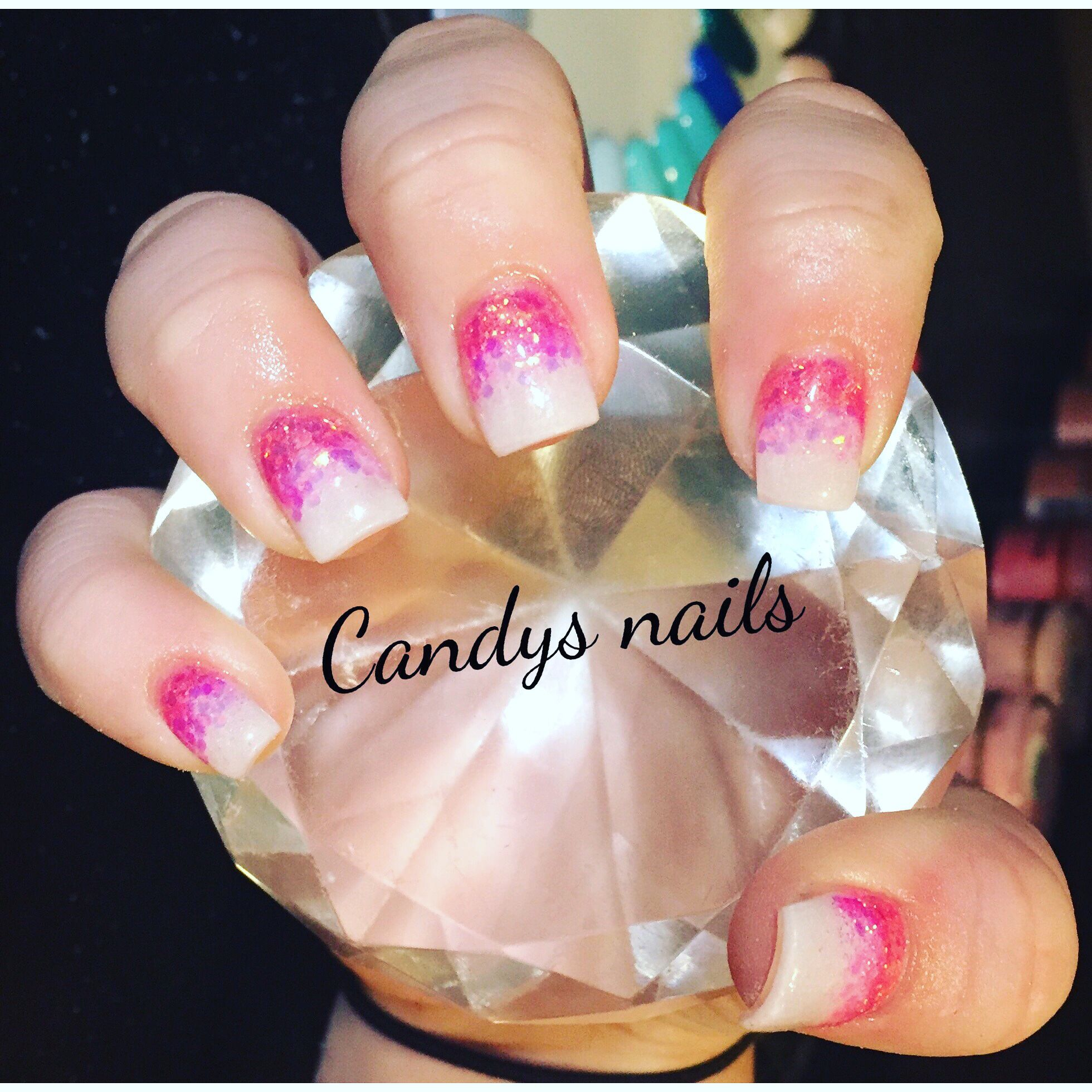 Pink and white glitter fade design acrylic nails! | Candys Nails ...