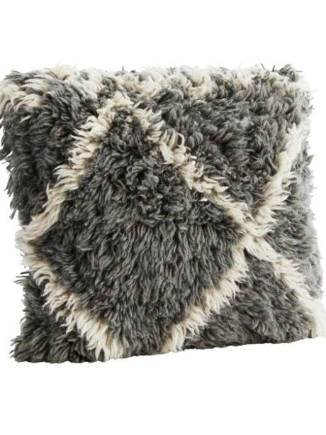 Grey & White Pure Wool Cushion - Trouva