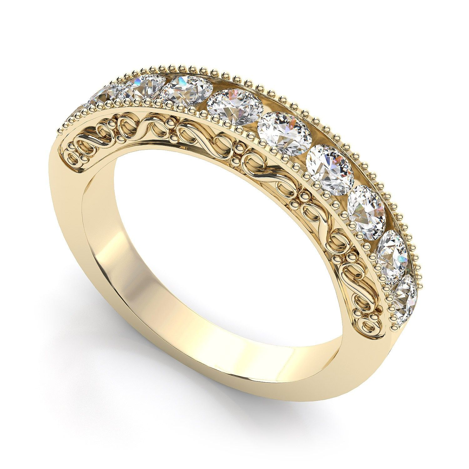 Women s hand detailed half eternity ring set with ten round cut