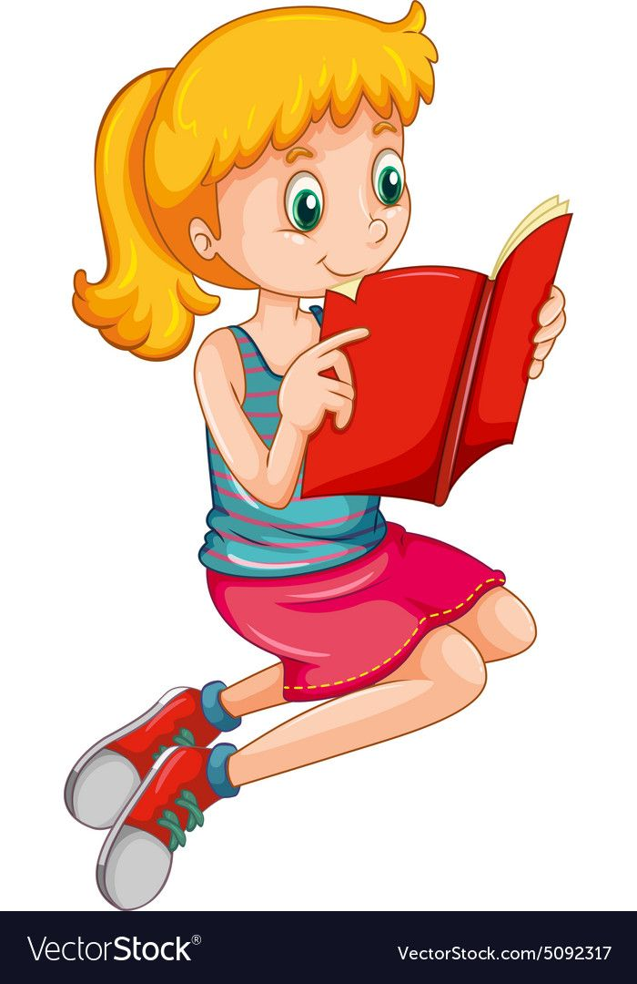 Cute Girl Reading A Storybook Alone Download A Free Preview Or High Quality Adobe Illustra Kid Clipart Reading Clipart Elementary School Classroom Decorations