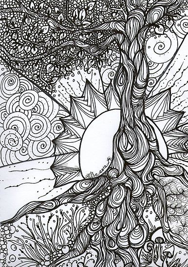 Tree Of Life Zentangle By Mysticdragonfly Abstract Coloring Pages Tangle Art Coloring Pages