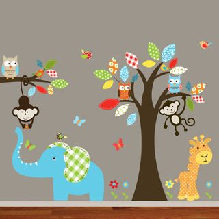 Safari Wall Art For Nursery Colorful Animal Owl Tree Decal Set