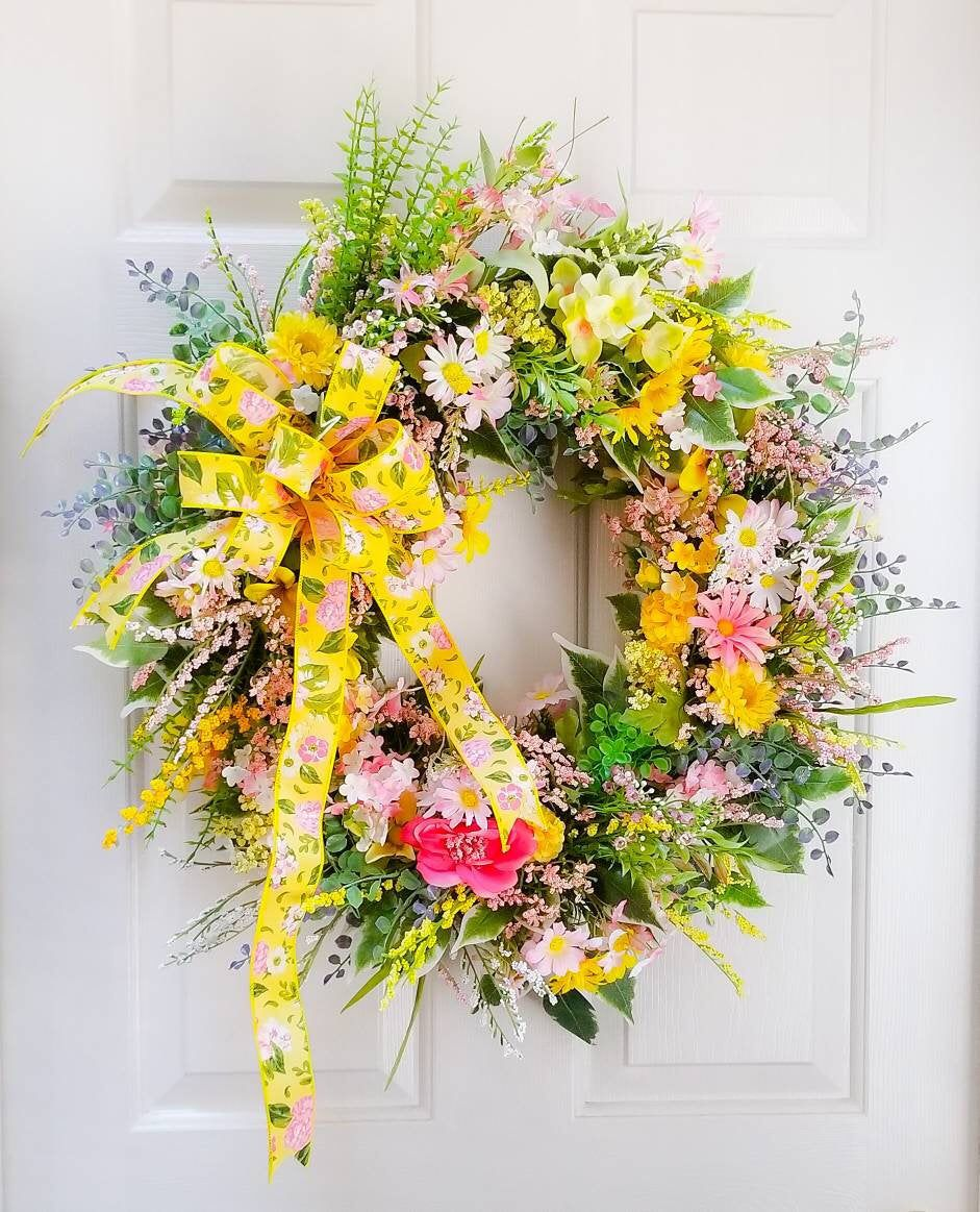 Photo of Spring Floral Wreath, Spring Grapevine Wreath, Spring Home Decor, Farmhouse Door Wreath