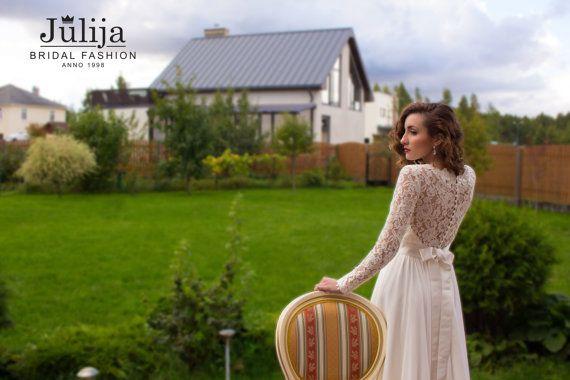 Sleeve Lace Wedding Dress , Simple, Straight