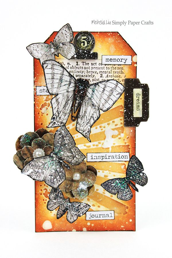 Meihsia Liu Simply paper Crafts Mixed Media Tag Butterflies 600