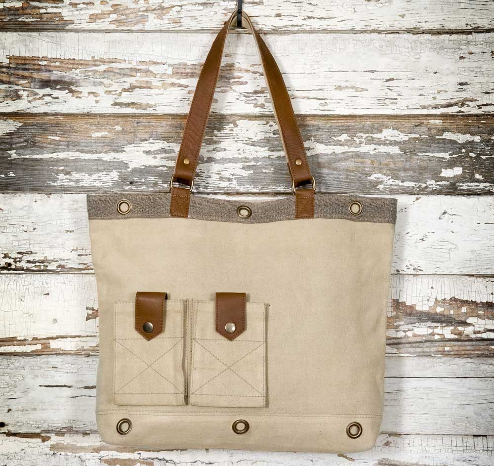 Casual Canvas and Leather Tote Bag-Vintage Inspired Bag x x This casual tote  bag is made using canvas with leather and brass elements. It feature 336053612f5cf