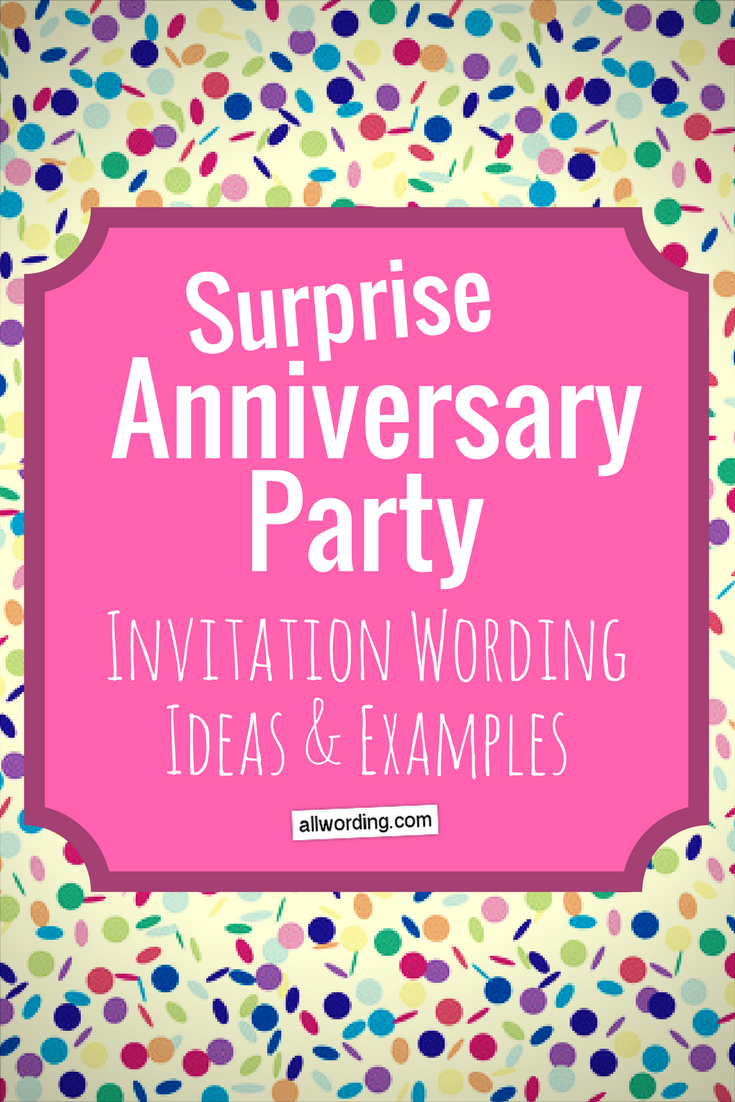 Surprise Anniversary Party Invitation Wording | All AllWording ...