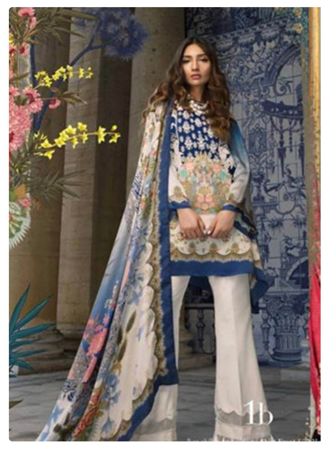 ae1c4a671f Excited to share this item from my #etsy shop: Sana Safinaz Embroidered  Chiffon Unstitched 3 Piece Suit SS18C 1B - Silk Chiffon Collection