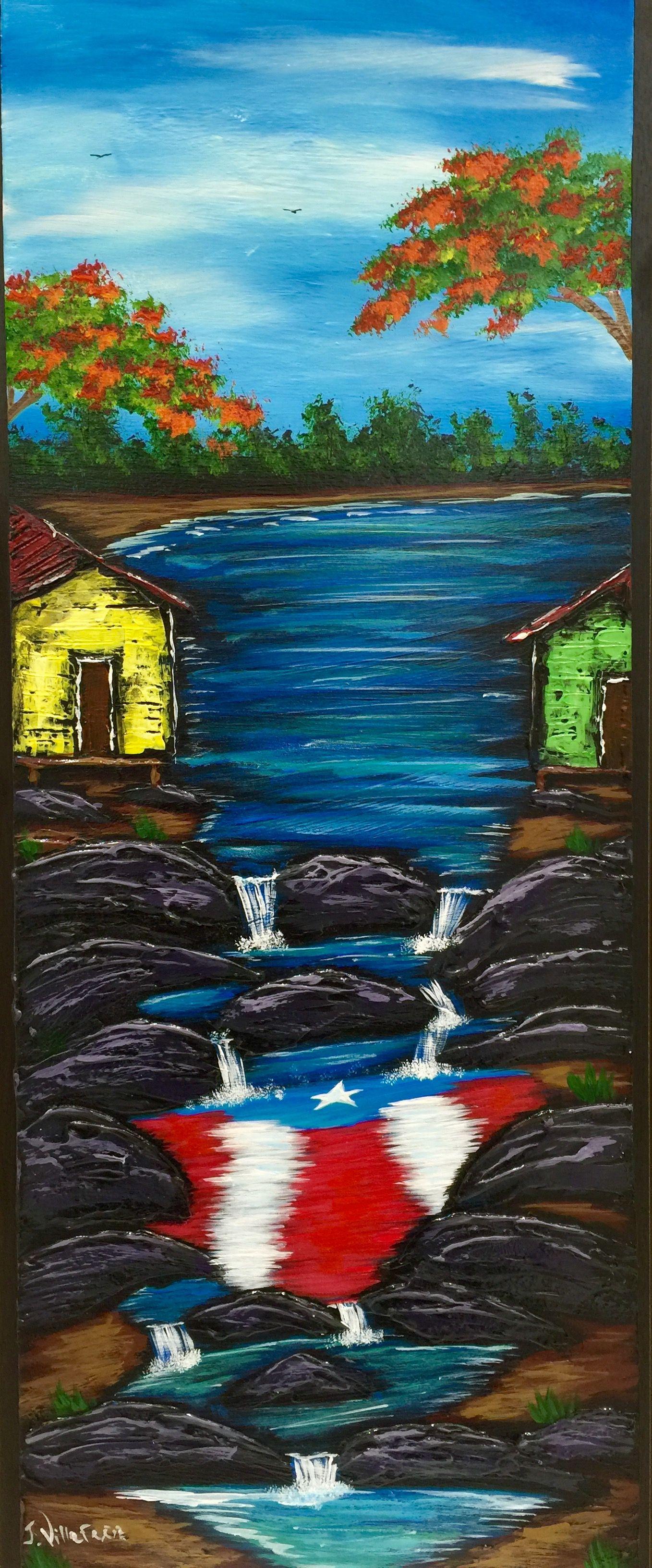 Casitas en el rio con bandera de Puerto Rico al oleo sobre madera ...