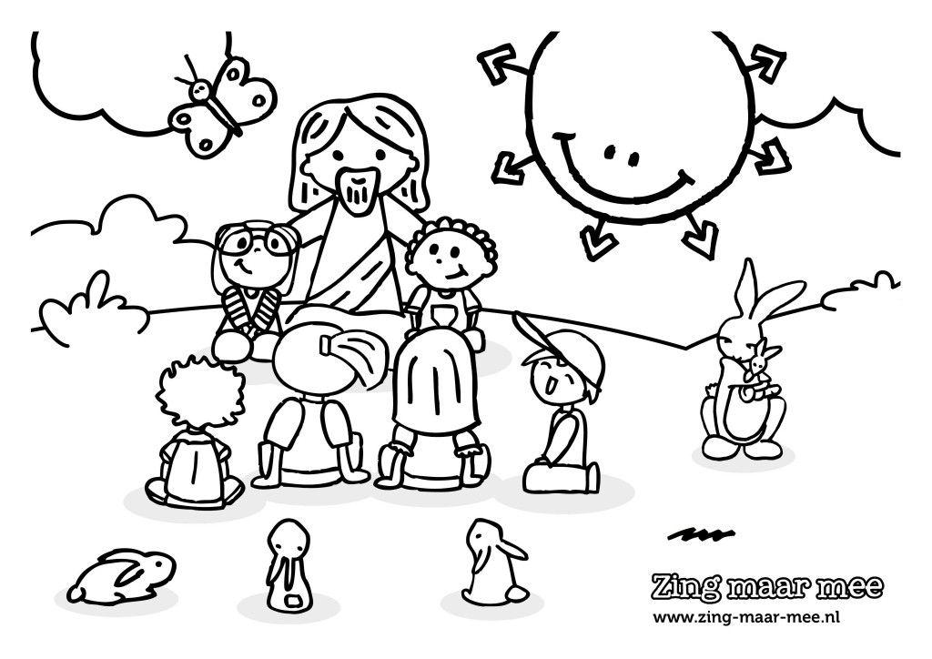 kleurplaat jezus houdt alle kinderen kleurplaten
