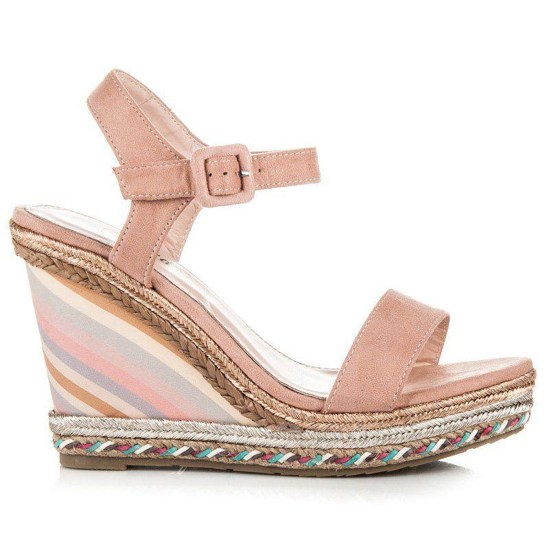 Seastar Letnie Buty Na Koturnie Rozowe Shoes Wedges Fashion
