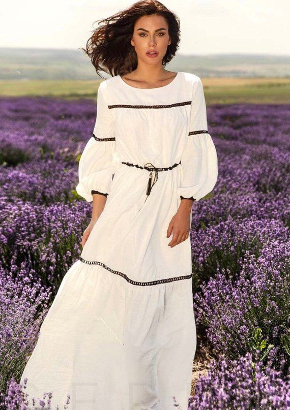 f0ef809ae096 Romantic Linen white maxi dress with lace belt  Long sleeves dress   Summer  fluffy dress Dresses for