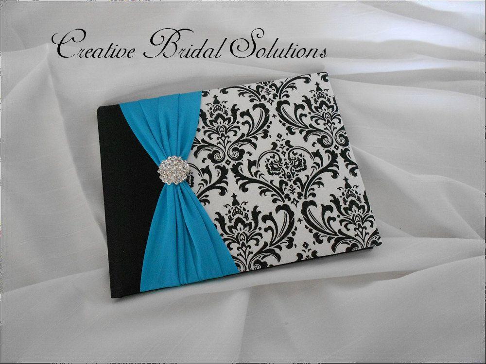 1/4 Black And White Madison Damask With Turquoise Wedding