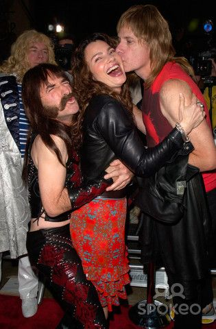 Actors HARRY SHEARER & CHRISTOPHER GUEST with actress FRAN DRESCHER at the world premiere, in Hollywood, of their movie This Is Spinal Tap - the 1984 rockumentary.