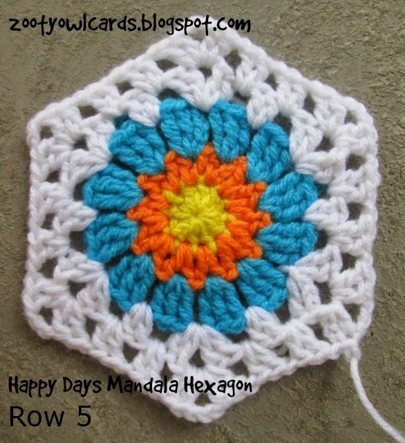 Zooty Owl: Happy Days Mandala Hexagon Motif - Free crochet pattern ...