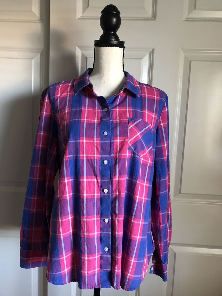 1bee58bc2097e Womens Tommy Hilfiger Checkered Shirt Blouse Size L #fashion ...