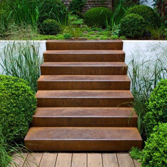 Cortenstahl Treppe 2 Stufen | Gartentreppen | Pinterest | Ps Und ... Cortenstahl Garten Terrasse Produkte