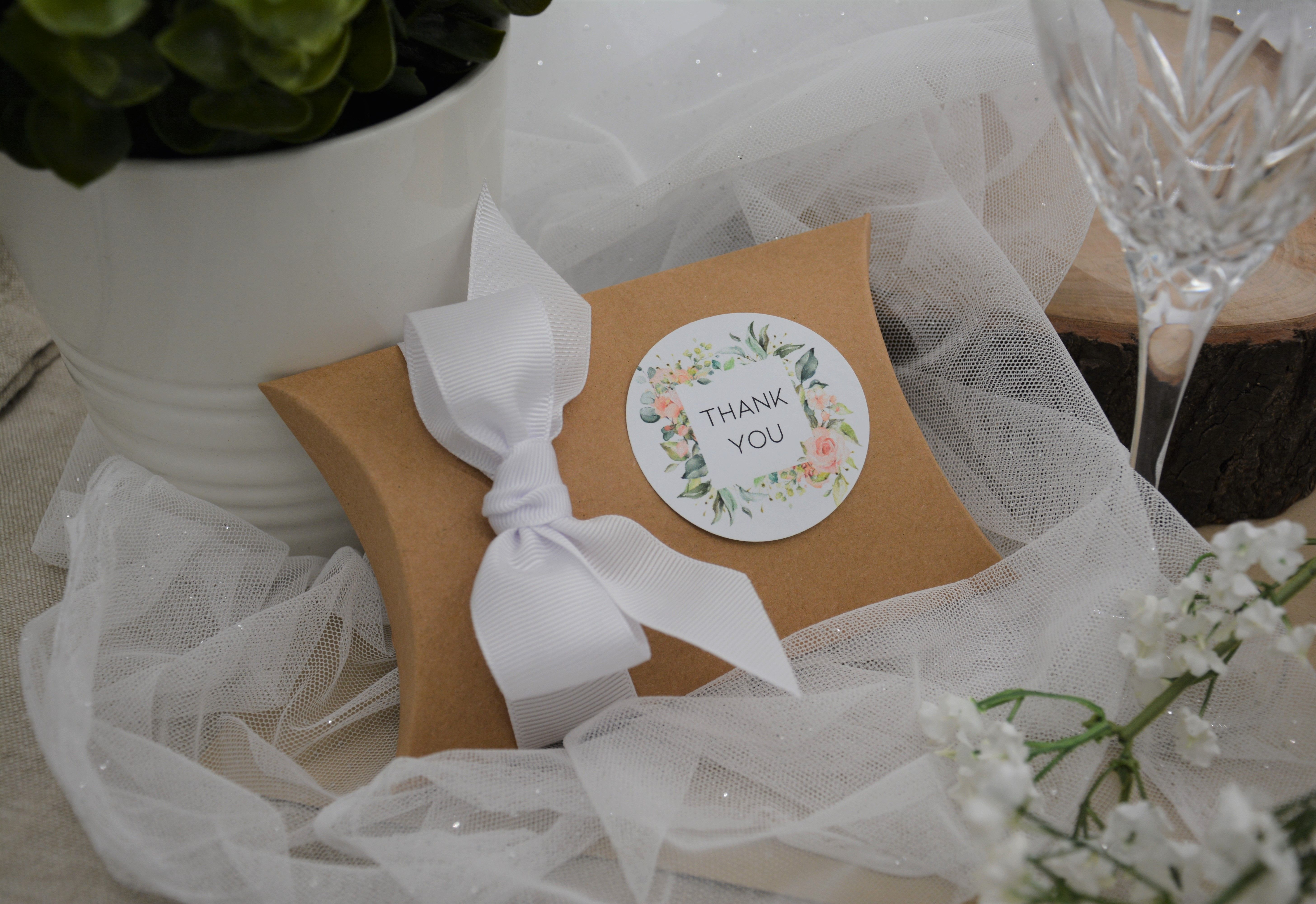 Personalised kraft wedding favour pillow boxes bonbonniere