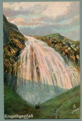 The Engstligenfall Waterfall in Switzerland - Vintage Raphael Tuck Oilette Postcard