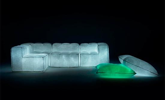 """""""Via Lattea"""": the evolution of the range of padded furniture, again literally filled with transparent bubbles of pure air and sidereal light. """"Mappamondo"""" (Globe), the """"Buco bianco"""" (White Hole), the """"Galassia"""" (Galaxy), still in the experimental stage. This is a project based on the pursuit of lightness and simplicity applied to the elastic balance between internal pressure and the dynamic loads of the body mediated by the form of the coverings. By Meritalia, Milan, Italy."""
