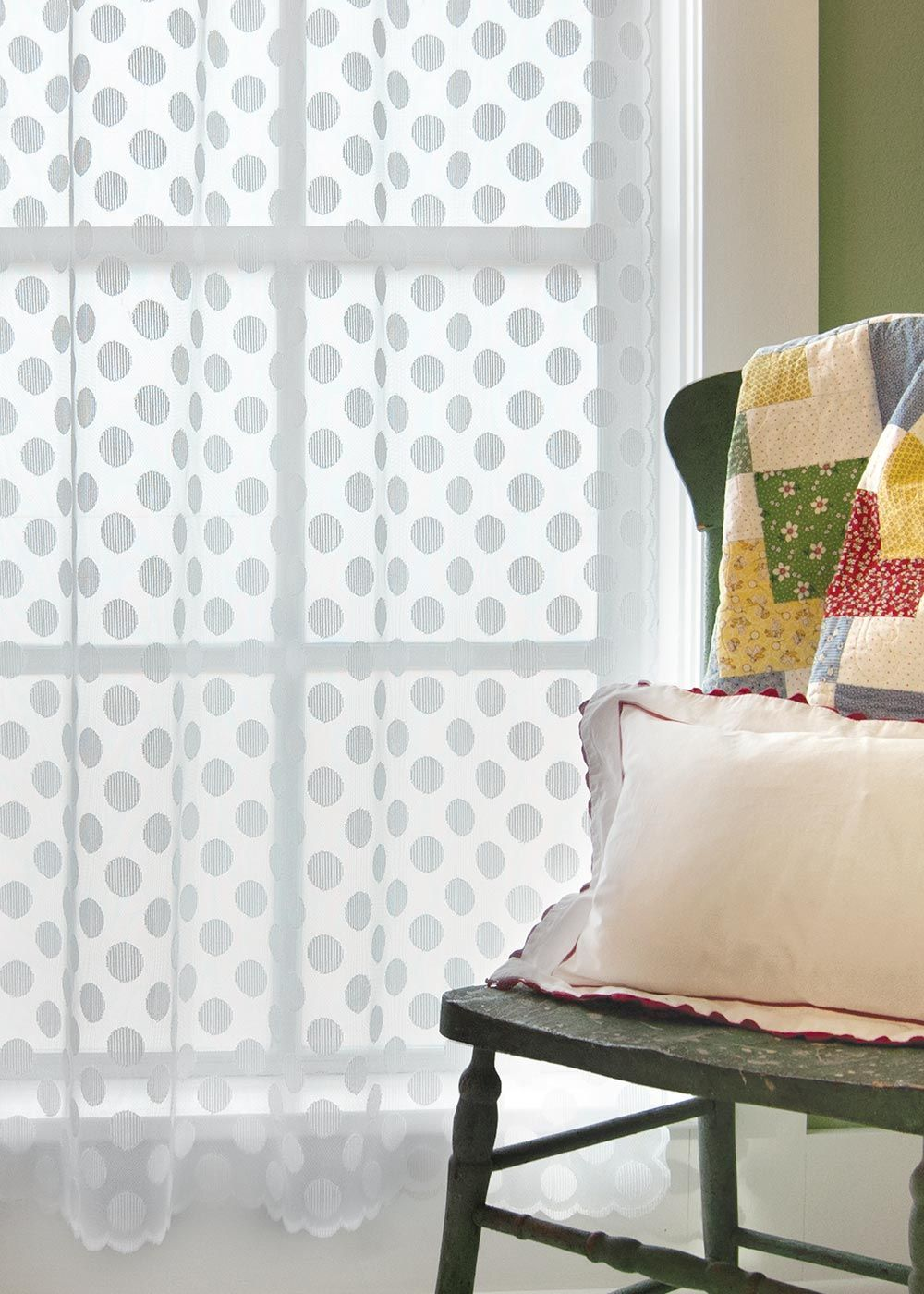 charming Polka Dot Curtains Panels Part - 17: A fun, modern take on the lace curtain, this window panel features a  all-over polka dot pattern