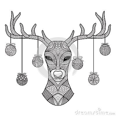 Hand Drawn Deer Head With Christmas Balls Hanging On Its Horn For Coloring Book Christmas Card Dec Deer Coloring Pages Christmas Coloring Pages Coloring Pages